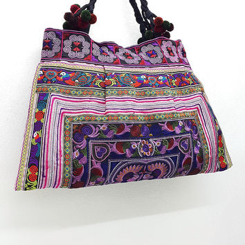 Thai Hill Tribe Bag Pom Pom Hmong Embroidered Ethnic Purse Woven Bag Hippie Bag Hobo Bag Boho Bag Shoulder Bag: Pink Purple