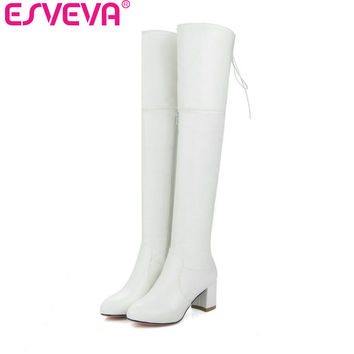 ESVEVA  2017 White Women Boots Over The Knee Boots Short Plush Winter Soft PU Square High Heel Ladies Fashion Boots Size 34-43