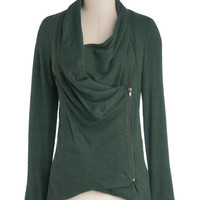 ModCloth Mid-length Long Sleeve Airport Greeting Cardigan in Forest