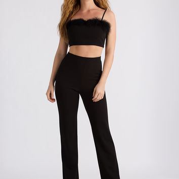 Feathered Friend Crop Top And Pant Set