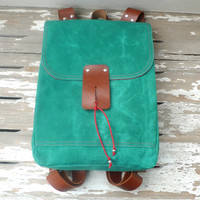Green Waxed Canvas  Backpack  with Adjustable Leather Strap Strap / School / Travel / Rucksack / Laptop Bag