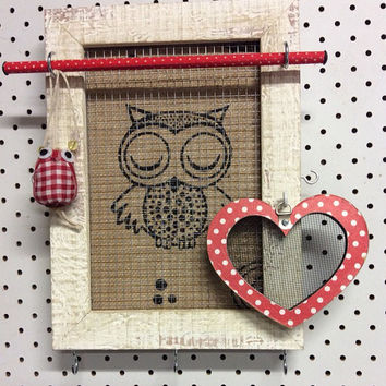 Jewelry organizer, owl frame, jewellery frame, earring holder, earring display, desktop frame, timber frame, owl decor, bracelet  organiser