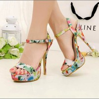 HOT Women's Floral Opened Toe High Heel Stiletto Sandal Ankle Strap Textile 1nH