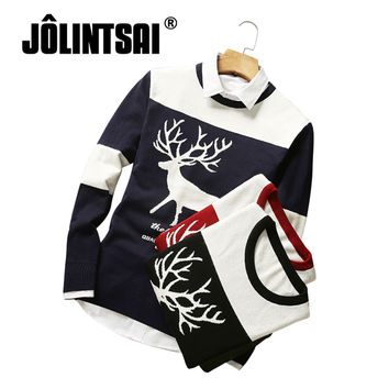 Jolintsai 2017 Plus Size 3XL Sweater With Deer Pull Homme Knitted Sweater Men Slim O-neck Winter/Autumn Pullover Jersey Hombre