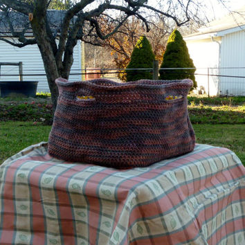 Tote Basket - Crochet Brown