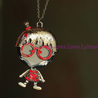 Mother's Day Gift, Cute Girl with Glasses Pendant Necklace, Long Chain Style, Love Red Heart  L-3