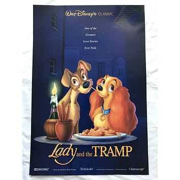 """""""Lady & The Tramp"""" 1996 Original Movie Poster First Issue 27X41 Disney 1955"""