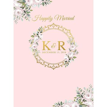 Floral Gold Initial Flower Circle Frame Wedding Birthday Theme Party Backdrop (Any Color) Background - C0247