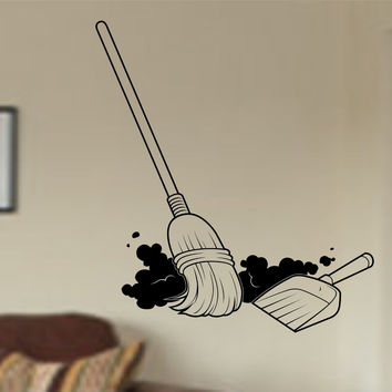 Broom and Dustpan Vinyl Wall Decal Sticker