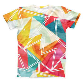 The Vintage Retro Overlap ink-Fuzed Unisex All Over Full-Printed Fitted Tee Shirt