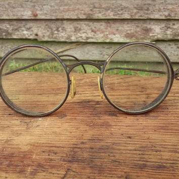 Antique Glasses Antique Safety Google's Pioneer 22 Glasses Steampunk Glasses Mr Magoo Glasses Vintage Round Glasses Industrial Glasses
