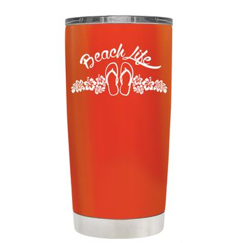 Beach Life Flowers and Sandals on Vermilion 20 oz Tumbler Cup