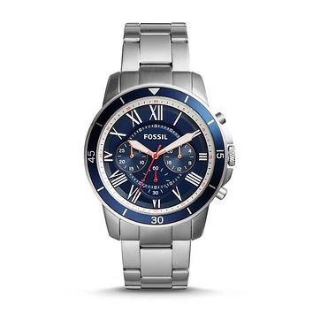 Grant Sport Chronograph Stainless Steel Watch, Blue | FOSSIL