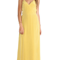 Tibi SIlk Pleated Dress in Yellow