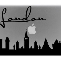 London Skyline Macbook Decal With Writing / Macbook Sticker / Laptop Decal