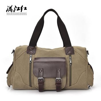 Brand Vintage canvas men travel bags women weekend carry on luggage & bags leisure duffle bag large capacity Handbags