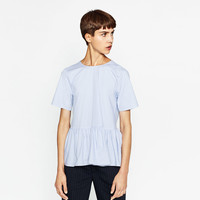 POPLIN BLOUSE WITH A FRILL