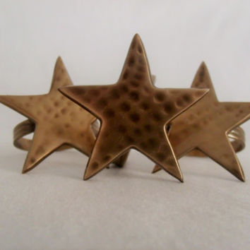 Hammered Brass Star Napkin Rings Set of 3 Holiday Decoration