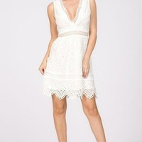 Cleo Fit and Flare White Lace Dress