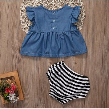 Baby Girls clothing Cowboy Color Tunic Dress  striped shorts bottom Kids outfits summer baby girl sets