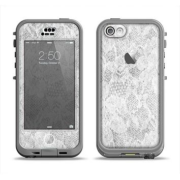 The White Textured Lace Apple iPhone 5c LifeProof Nuud Case Skin Set