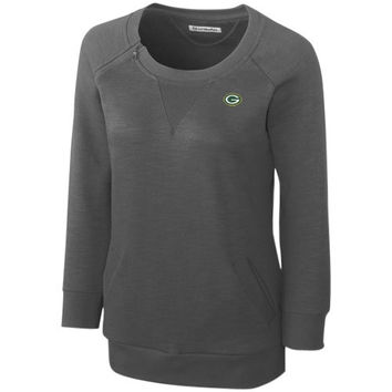 Cutter & Buck Green Bay Packers Ladies Offside Overknit Three-Quarter Sleeve Sweatshirt - Charcoal