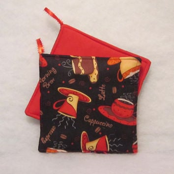 Retro Cafe Late Kitchen Potholders in a set of 2