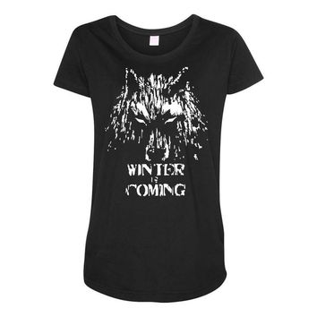 game of thrones direwolf winter is coming Maternity Scoop Neck T-shirt