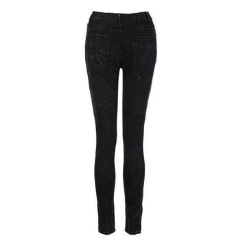 ICIKON3 fashion women jeans flat skinny mid waisted elasticity cool zipper and button slim fit laies pencil pants lsiw