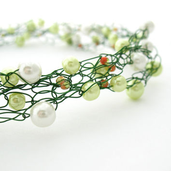 Wire Crochet Necklace Green & White Beaded by MoonlightShimmer