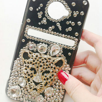 Sprint HTC Evo 4G LTE Handmade Charms Phone Case Bling Sparking Fashion Gilding Leopard Studded Shining Rhinestones Crystals Unique Design