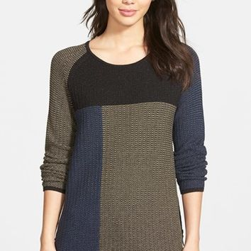 Women's NIC+ZOE 'Telegraph' Side Zip Colorblock Sweater,