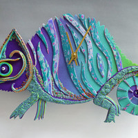 Chameleon Clock or Wall Art in Crazy Stripe Purple, Blue and Green Polymer Clay