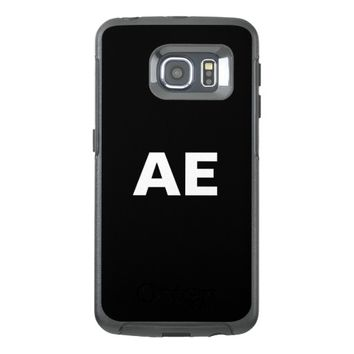 Monogrammed white bold letters on black otterbox samsung galaxy s6 edge case