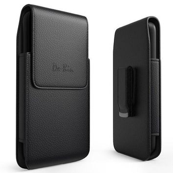Iphone 6 Plus 6s Plus 7 Plus 8 Plus Vertical Leather Belt Case Clip Holster Pouch Carrying Sleeve (fits Iphone Plus With Otterbox Defender Case / Symmetry Case / Commuter Case / Lifeproof Case On)