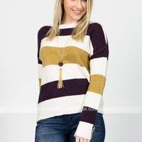 Plum Striped Soft Sweater