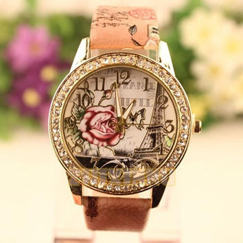 New hot sale  fashion   gift Cute Sell Women Retro Rose Pattern Ladies Watches = 1956596164