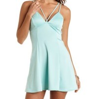 Mint Strappy Tie-Back Skater Dress by Charlotte Russe