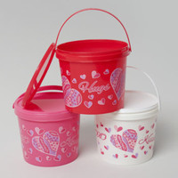 valentine's day candy bucket with lid Case of 36