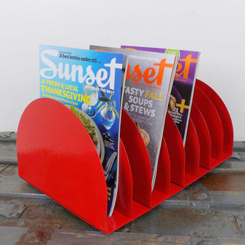 Record Album Desk Office Organizer Magazine Rack Red Mail Sorter Letter Holder Decor Inbox Bill Slot File Box Metal Desktop Filing Business