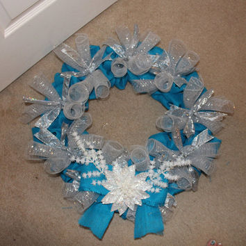 Winter Wonderland Frozen Blue Burlap Wreath
