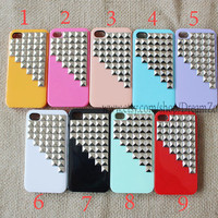 Studded Iphone Case Silver pyramid studs  IPHONE 5 Case----for Apple iPhone 5 Case, iPhone 5 Case, iPhone5 Hard Case