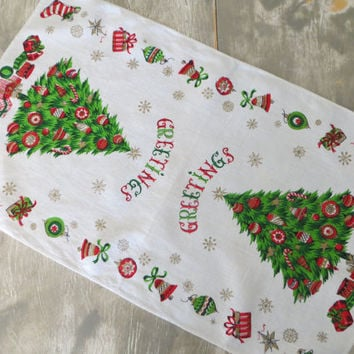 Vintage Holiday Linen Towel Kitchen Towel Kitchen Tea Towel Holiday Towel Christmas Linens Christmas Kitchen Towel Greetings Christmas Tree