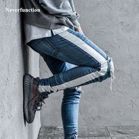 Ripped jeans for men Knee Hole Side Zipper Slim Distressed skinny Jeans justin bieber streetwear hip hop blue black KANYE WEST