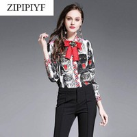 ONETOW 2018 women spring summer runway fashion button blouse long sleeve tiger prints blouse fashion designer blouse top D412