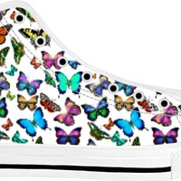 Butterflies Fluttering By High Top Sneakers