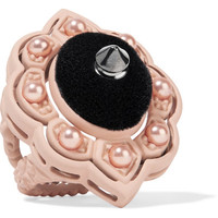 Gucci - Resin, velvet and faux pearl ring