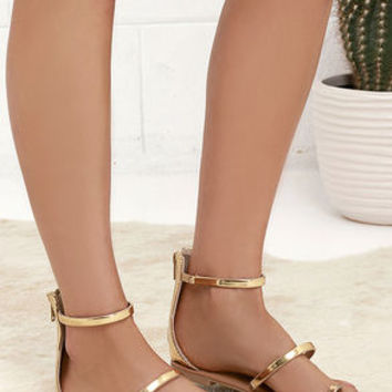 d766c2d7a22 Achilles Gold Flat Ankle Strap Sandals from Lulu s