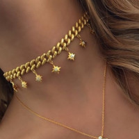chain link choker with starburst charm