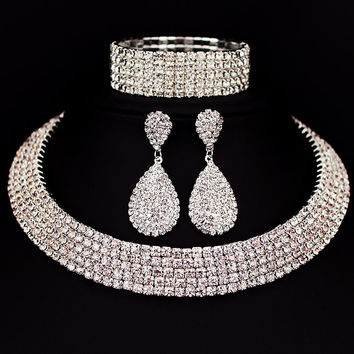 Hot Selling Bride Classic Rhinestone Crystal Choker Necklace Earrings and Bracelet Wedding Jewelry Sets Wedding Accessories X164